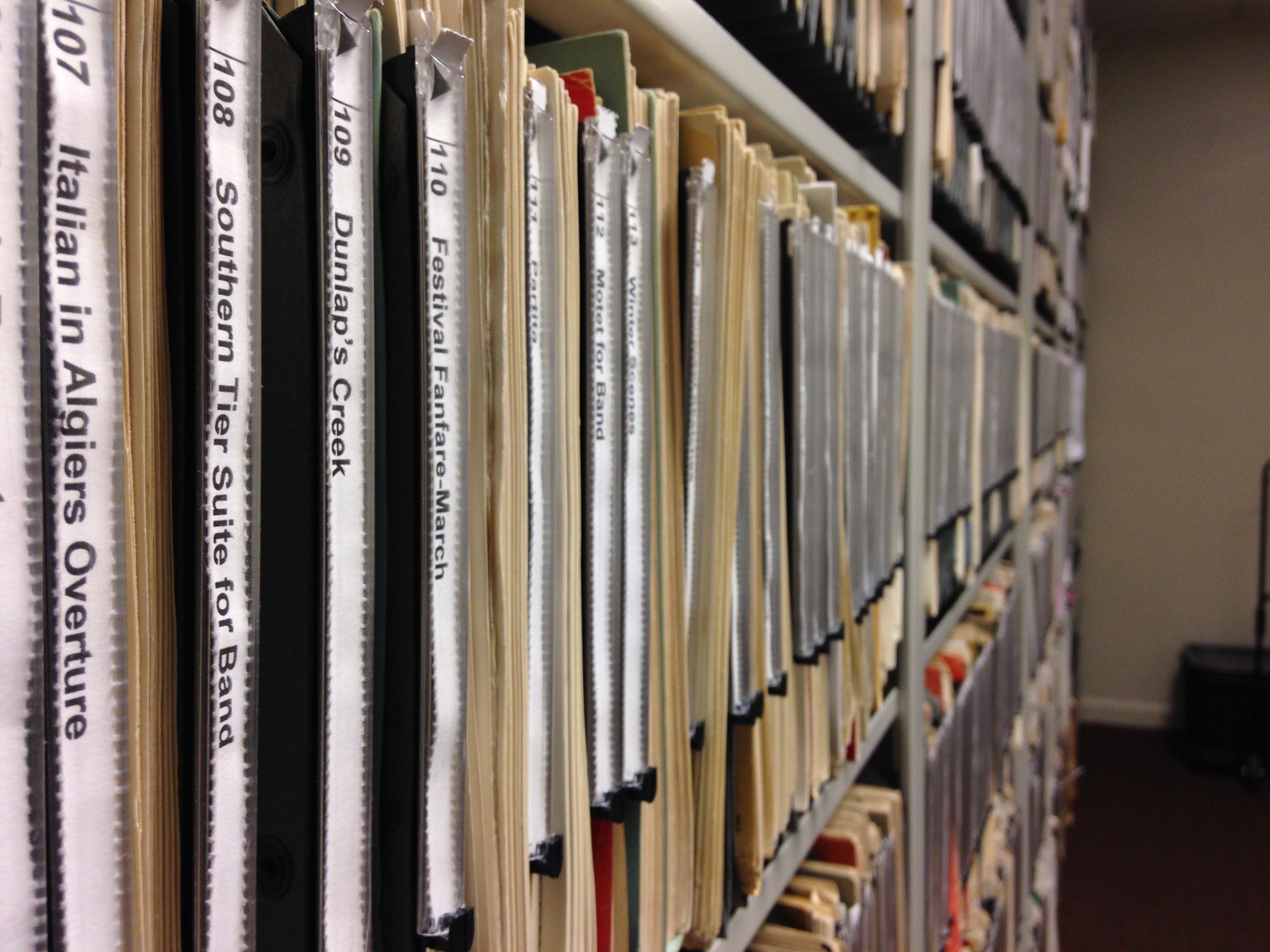 Vertical Sheet Music Storage with easy to read labels.