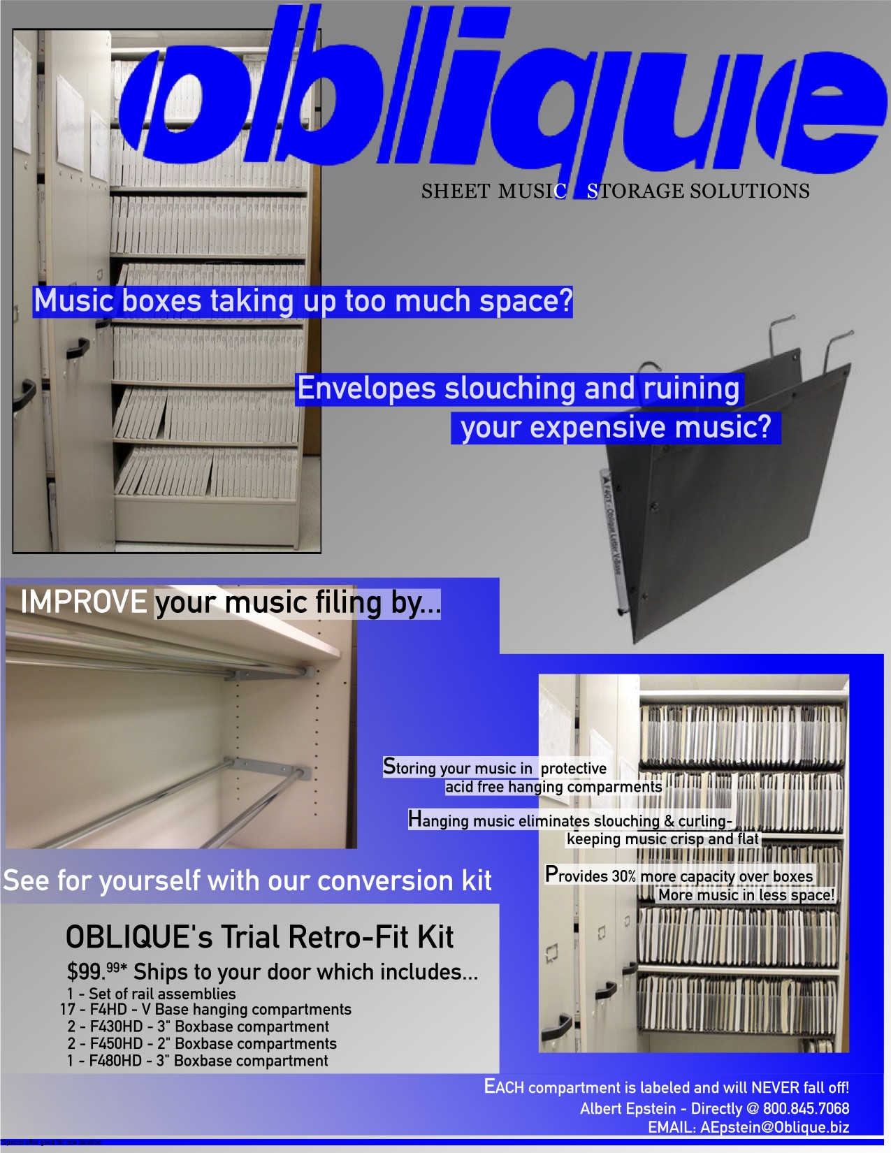 OBLIQUE Sheet Music Storage Wenger Music Library RetroFit Kit FLYER